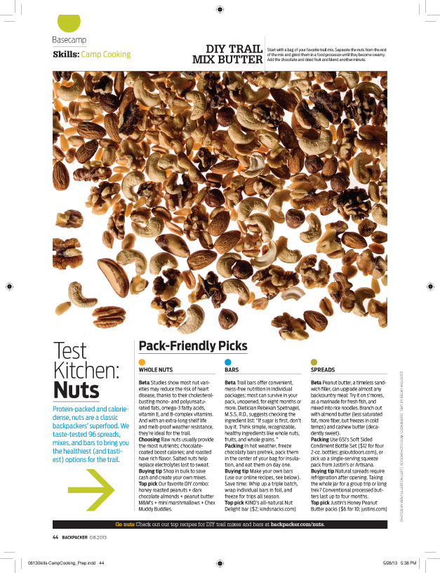 BACKPACKER, AUGUST 2013: NUT TEST KITCHEN